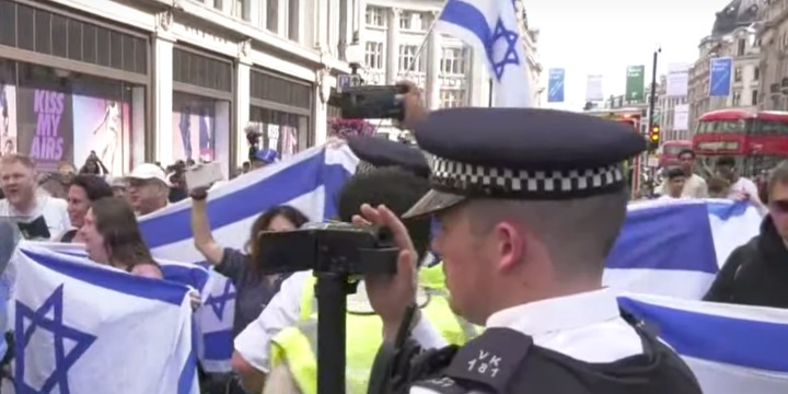 "A pro-Israel rally counters the 2017 ""Al Quds Day"" march in London. Photo: Screenshot"